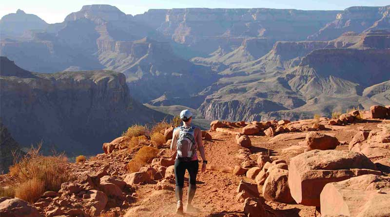Woman Hiking in Grand Canyon - South Kaibab Trail